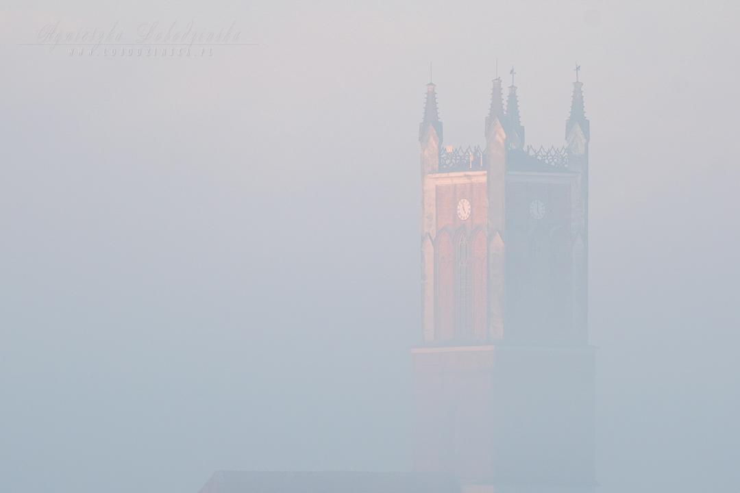Wieża kościoła we mgle - Słońsk